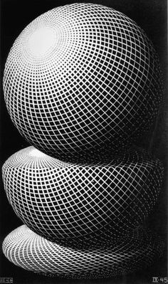 """""""Three Spheres I"""" by MC Escher 1945 Wood engraving. Mc Escher, Escher Kunst, Escher Art, Escher Prints, Arte Popular, Dutch Artists, Optical Illusions, Art Images, Bing Images"""