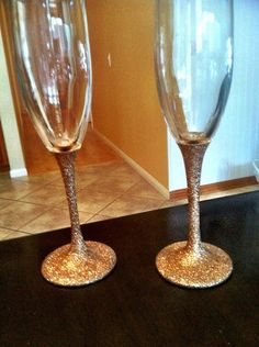 c5a9965fc9 Rose Gold Glitter Champagne Glass by GlitzGifts on Etsy love to do this to  serving platters etc