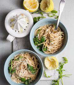 Lemon, garlic pasta. Simple and satisfying!