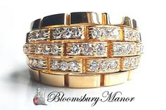 4a538b049 Cartier Vintage 1980s Maillon Panthere 5 Row Diamond Bombe Ring in 18k  Gold, Size N