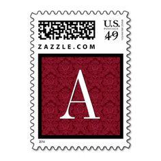 Red Damask Monogram Wedding Stamp  #jaclinart #wedding #monogram #stamps #colors #red #damask