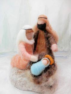 Ago feltro presepe Waldorf Natale Natività roving lana