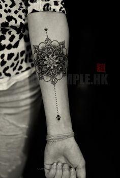 Fine Line & Dotwork Mandala - artwork and tattoo by Elizabeth - www.tattootemple.hk