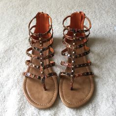 •Gladiator Sandals• Orange gladiator inspired sandals/features faux leather upper/faux Python pattern/studded decor/thong strappy style/new in box/thanks for looking                                                                       ❌No Trades❌ Soda Shoes Sandals