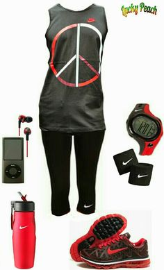Nike Women's Avtivewear fashion black and red nike outfit http://www.FitnessApparelExpress.com
