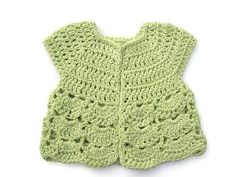 Baby Sweater in Crochet - Green Cap Sleeved Cardigan - Handmade by Amanda Jane in Ireland