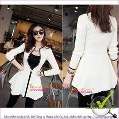Áo khoác len nữ mỏng kéo khóa GLA096