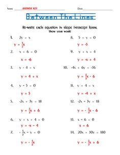 Printables Algebra 1 Worksheets With Answers solve for y slope intercept form good worksheet extra students are given 14 equations that must be re written in form