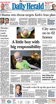 Daily Herald front page, Jan. 22, 2015; http://eedition.dailyherald.com/