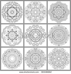 unique coloring book square page for adults - floral authentic carpet design, joy to older children and adult colorists, who like line art and creation, raster version