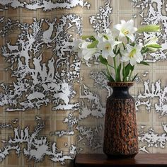TB Glorious Twelfth Fabric & Wallpaper in Beige. This wallpaper is also available in colours Blue, Sage, Grey, Red and Yellow. Timorous Beasties, Fabric Wallpaper, Designer Wallpaper, Sage, Glass Vase, Textiles, Interiors, Colours, Table Decorations