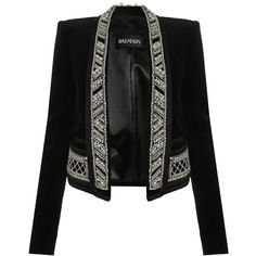 Balmain Exclusive Pearl-Trimmed Velvet Jacket ($6,445) ❤ liked on Polyvore