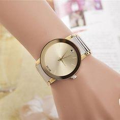 moda feminina strass correia de aço relógio de pulso de quartzo de 2015 por €8.07