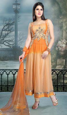 $171.63 Orange Faux Georgette Resham Work Anarkali Suit 24454