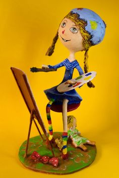 Little Artist Girl, OOAK Handmade Art Doll, Young Painter with Doll, Papier Mache Sculpture, Unique Original 3D Artwork, FREE SHIPPING