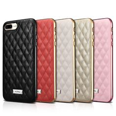 Fashion Elegant Rhombic Shape Leather Case For Apple iPhone 8 7/ Plus Luxury Electroplating Silicone Edge Back Cover Phone Cases