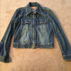 Jeans jacket! Dark blue jeans jacket. Comfy & stylish! Good quality. Good condition, hardly worn! Bundle to save on shipping! NO TRADES, sorry! Tfr denim Jackets & Coats Jean Jackets