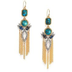 Alexis Bittar Elements Gilded Muse D'Ore Chrysocolla & Crystal Spiked Tassle Chandelier Earrings found on Polyvore featuring polyvore, fashion, jewelry, earrings, apparel & accessories, alexis bittar earrings, swarovski crystal earrings, bezel earrings, chain tassel earrings and chain dangle earrings