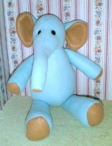 Sewing pattern for vintage-look felt elephant stuffed toy PDF