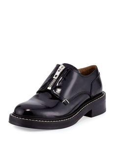 Saxon Zip-Front Leather Loafer, Black, Women's, Size: 9.5B/39.5EU - Rag & Bone
