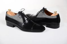 Handmade Men two tone leather formal shoes Men Oxford Black and gray dress shoes - Dress/Formal