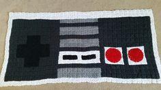 Nintendo controller granny square blanket