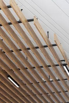 Ikea Roncadelle Wood Ceiling Panels, Wooden Ceiling Design, Timber Ceiling, Wooden Ceilings, Metal Ceiling, Ceiling Tiles, Osb Wood, Wood Slats, Wood Paneling