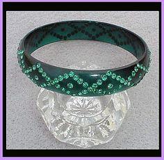 GORGEOUS 1920s Celluloid Bangle Bracelet Diamond Pattern Rhinestone Celluloid Bangle Bracelet Roaring Twenties Jewelry