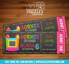Printable Chalkboard Girl Bounce House Ticket Birthday Invitation | Digital File | Girls Birthday Party Idea | Trampoline | Inflatable Park | Jump | Pump it Up | FREE thank you card | Party Package Available |  Banner | Cupcake Toppers | Favor Tag | Food and Drink Labels | Signs |  Candy Bar Wrapper | www.dazzleexpressions.com