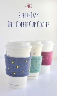 Felt Embroidered Coffee Cup Cozies-The Cutest Coffee Sleeve Cozies Crochet Teacher Gifts, Crochet Christmas Gifts, Teacher Christmas Gifts, Handmade Christmas Gifts, Holiday Gifts, Crochet Gifts, Coffee Cup Cozy, Mug Cozy, Coffee Cups