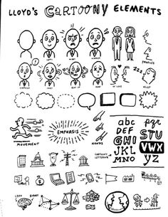 Loyd Dangles notes from the field of cartooning shared by my talented friends from Doodle Sketch, Doodle Drawings, Easy Drawings, Drawing Sketches, Sketching, Doodle For Beginners, Visual Note Taking, Visual Thinking, Note Doodles