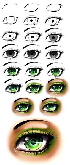 Girl eye step by step by AikaXx.deviantart.com on @deviantART