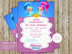 Shimmer and Shine Genie Birthday Invitation
