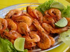 Camarão... Shrimp at the beach! Hummm