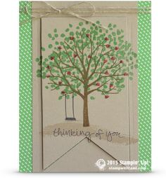 "Beautiful ""thinking of you"" sympathy card from the Stampin Up Sheltering Tree stamp set.The tree was stamped on the crumb cake, then cut out with the banner framelits, and layered together for this cool effect."