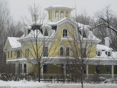 The Highgate Manor in Vermont.  I love this building and the ghost stories.  I took this picture two winters ago.  I can't wait to go back and take a picture of it this June.    http://www.vermonter.com/haunted-vt-%20inns-Highgate-manor.asp