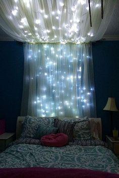 Himmelbett lichterkette selber machen  DIY Himmel mit Lichterketten über dem Bett | KIds room | Pinterest ...