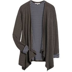 This is cute - like the striped lining. Like if somewhat fitted and not big and baggy. 41 Hawthorn Potina Draped Cardigan