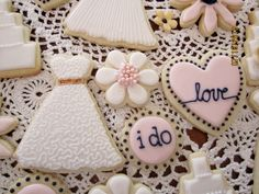 bridal shower cookies.  Ivory, blush, navy and metallic gold