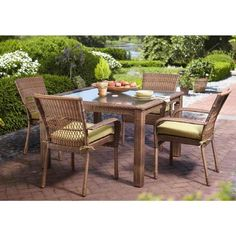 Martha Stewart Living Charlottetown Brown All-Weather Wicker 5-Piece Patio Dining Set with Green Bean Cushion-65-55651B - The Home Depot