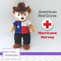 HELP THOSE AFFECTED BY HURRICANE HARVEY $5.00 USD of every top sold will be donated to the American Red Cross! SIZE • Fits 17 Duffy and Shellie May INCLUDES • One top made from red, white, and blue cotton, with white star embroidery and Velcro™ closure for easy on-and-off. DRESSING SUGGESTION • Black Pants from Thats Sew Amanda (Not Included) • Cowboy Boots and Cowboy Hat from Build-a-Bear Workshop (Not Included) SHIPPING • This item is made to order. Please see the SHIPPING & POLICIE...