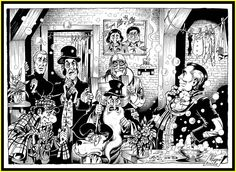 Alan Ford, Fine Art, Cartoon, Comics, Artist, Bunker, Painting, Illustrations, Group