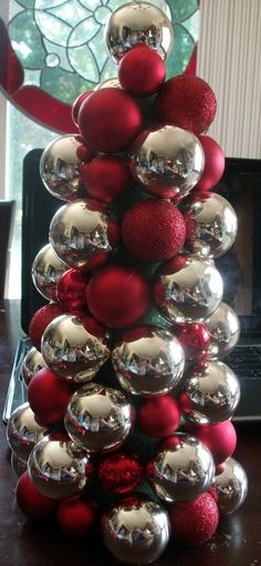 This years dollar store ornament craft  Thrifty Crafty Girl: 25 Days of Christmas - Ornament Tree