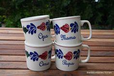 Coffee mugs. Granddad,grandmother,mother,daddy.