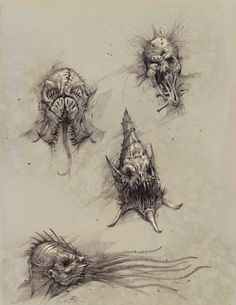 ArtStation - Faces of the Underworld: Part Two, Bobby Rebholz Creature Concept Art, Creature Design, Human Face Drawing, Ink Pen Drawings, Sketchbook Drawings, Mythology Tattoos, Beast Creature, Monster Drawing, Arte Horror