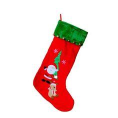 EXTRA LARGE CHRISTMAS STOCKING WITH SANTA, REINDEER & BELLS