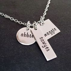 Hand Stamped Necklace Personalized Custom Jewelry Mixed Sterling Charms