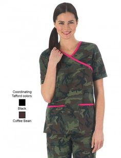 Tafford Green Camo and Hot Pink Cross Over Scrub Top Camo Scrubs, Scrubs Outfit, Cute Country Outfits, Cute N Country, Uniform Advantage, Medical Scrubs, Nursing Clothes, Scrub Tops, Hot Pink