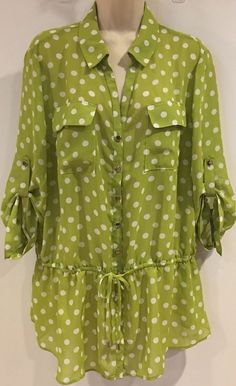 0912e1d0d973a Lane Bryant Womens Top Blouse Polka Dot Print Sheer Lime Green Size 16