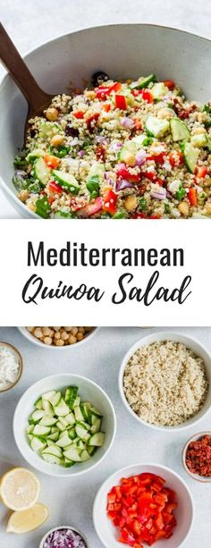 Mediterranean quinoa salad This Mediterranean quinoa salad recipe is the BEST! It's easy to make healthy and gluten-free. Serve up this recipe as a side or a main everyone will love! The post Mediterranean quinoa salad appeared first on Rezepte. Mediterranean Quinoa Salad, Mediterranean Diet Recipes, Mediterranean Chicken, Menu Dieta, Healthy Salad Recipes, Recipes For Salads, Gluten Free Quinoa Salad, Best Quinoa Salad Recipes, Vegetarian Quinoa Salad